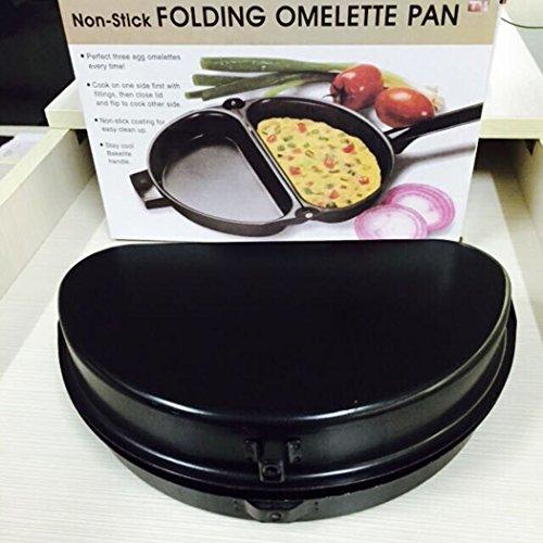 Folding Omelet Pan Justdolife Outdoor Nonstick Folding Frittata Pan Egg Skillet Omelet Maker for Picnicking Camping