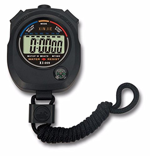 Makalon 2020 Waterproof Digital LCD Stopwatch Chronograph Timer Counter Sports Alarm Black