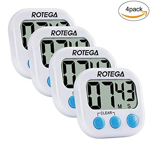 ROTEGA 4 Pack Upgraded Magnetic Digital Kitchen Cooking Timer Large LCD DisplayVolume AdjustableAuto ShutdownCount-Down Up Clock White