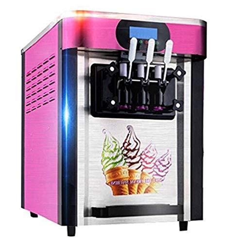 Enshey Commercial Ice Cream Machine 20LH Food Grade 304 Stainless Steel 3 Flavor Soft Ice Cream Dessert Maker 110V  60Hz Small Desktop 2000W Digital Display Low Power Ice Cream Making Machine