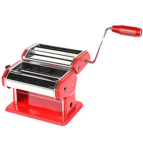 Houseables Pasta Maker Stainless Steel 8x6 Red wAdjustable Dough Roller Hand Crank Table Clamp Noodle Cutter Press Attachments for Lasagna Linguine Tagliatelle Making Machine Homemade
