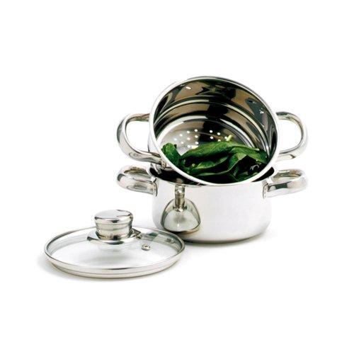 Norpro 1-Quart Stainless Steel Mini Steamer Cooker 3 Piece Set
