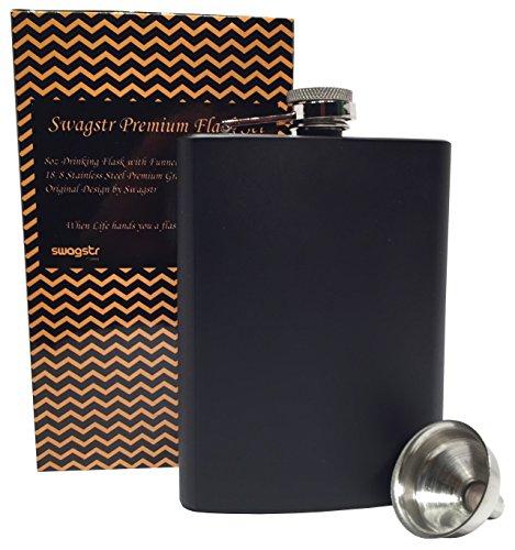 Swagstr Flask with funnel and Gift Box 304 188 8oz Stainless Steel Leak Proof Black Matte Metal Hip Flasks for Alcohol Liquor Spirits Whiskey Vodka - Gift Set Matte Black