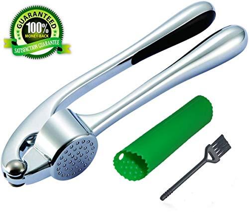 Garlic Press Stainless Steel with Silicone Tube Roller Garlic PeelerGarlic Crusher with Cleaning BrushProfessional Soft-Handled Garlic MincerGinger PressGarlic SqueezerMasherChopper