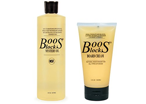 John Boos Cutting Board Oil and Cream Set Includes One 16 Ounce Bottle Mystery Oil and One 5 Ounce Tube Board Cream