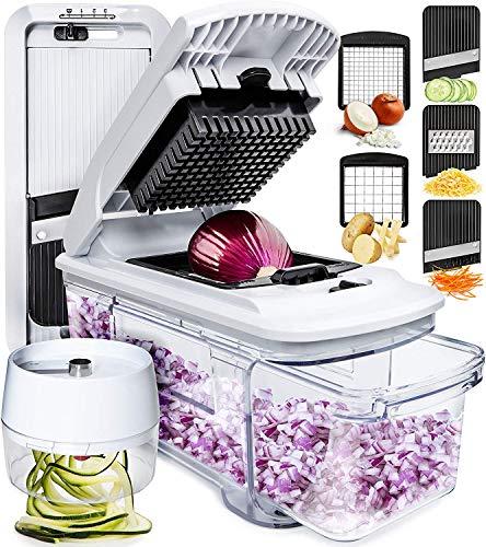 Fullstar Mandoline Slicer Spiralizer Vegetable Slicer - Vegetable Chopper Onion Chopper Food Chopper Vegetable Spiralizer Mandoline Slicer Cutter Chopper and Grater Slicer Zucchini Spaghetti Maker