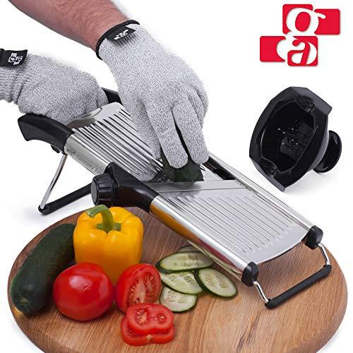 Mandoline Slicer with Cut-Resistant Gloves and Blade Guard - Adjustable Mandolin Vegetable Slicer and French Fry Cutter Food Slicer Vegetable Julienne - Thick Sharp Stainless Steel Blades