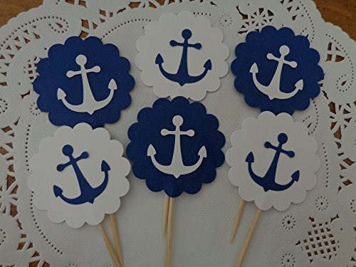 Anchor Cupcake Toppers - Navy Blue and White Anchor Toppers - Party Picks - Food Picks - Nautical Party Decorations - Double Sided - Set of 24