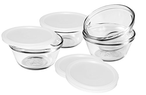Anchor Hocking 80381L11 Set of 4 Custard Cups with 4 Lids 6 ounces