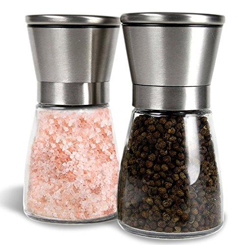 G Kitchen Premium Stainless Steel Salt Pepper Grinder Set of 2-Pepper Mill and Salt Mill-Salt Pepper Shaker-Ideal Gift-Spice Grinder with Adjustable Coarseness Easy to Fill-Brushed Stainless