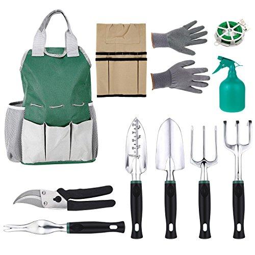 11 Piece Gardening Tool Kit Gardeners Tool Set with 6 Gardening Tools Cotton Gloves and Storage Tool Bag