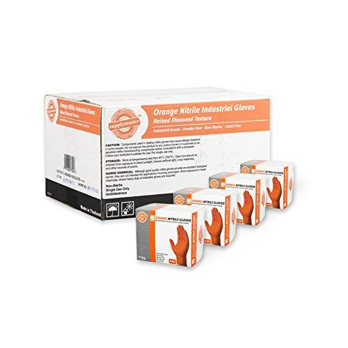 SupplyMaster - SMDTON8M - Diamond Texture Nitrile Gloves - Disposable Powder Free Industrial 8 mil Medium Orange Case of 200